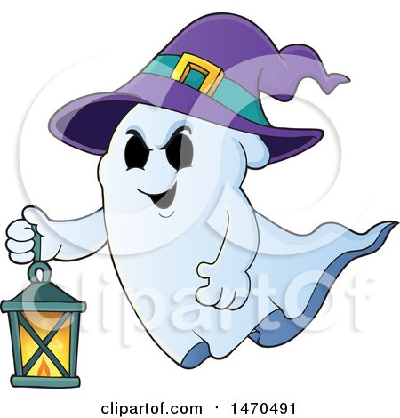 Clipart of a Halloween Ghost Wearing a Witch Hat and Flying with a Lantern - Royalty Free Vector Illustration by visekart