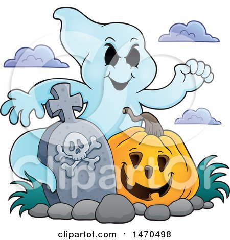 Clipart of a Ghost with a Halloween Pumpkin in a Graveyard - Royalty Free Vector Illustration by visekart