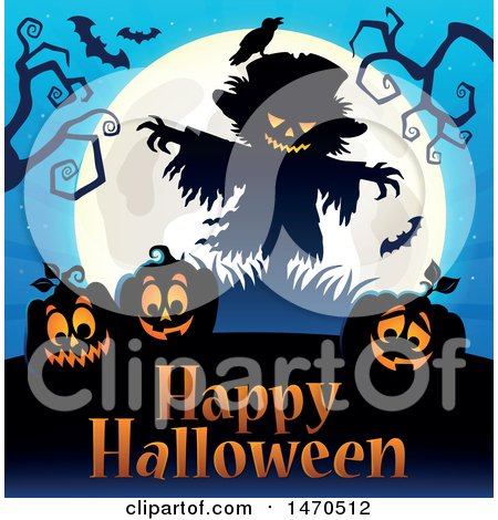 Clipart of a Halloween Scarecrow and Full Moon over Jackolanterns and Text - Royalty Free Vector Illustration by visekart