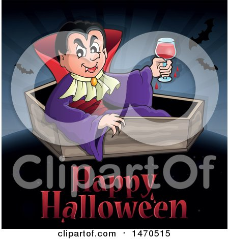 Clipart of a Happy Halloween Greeting Under a Vampire in a Coffin - Royalty Free Vector Illustration by visekart