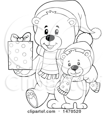 Clipart of a Father and Son Teddy Bear Carrying a Christmas Gift - Royalty Free Vector Illustration by visekart