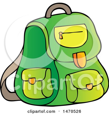 Clipart of a Green Backpack - Royalty Free Vector Illustration by visekart