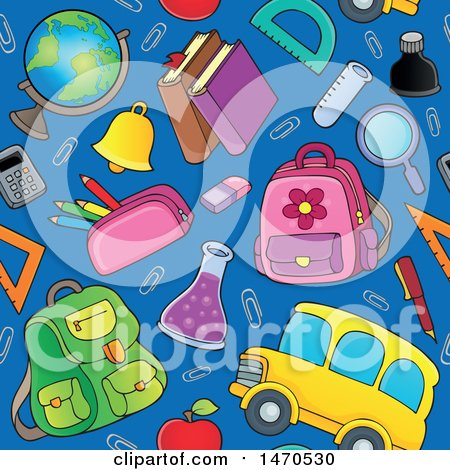 Clipart of a Back to School Seamless Background Pattern - Royalty Free Vector Illustration by visekart