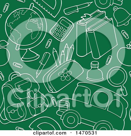 Clipart of a Chalkboard Back to School Seamless Background Pattern - Royalty Free Vector Illustration by visekart