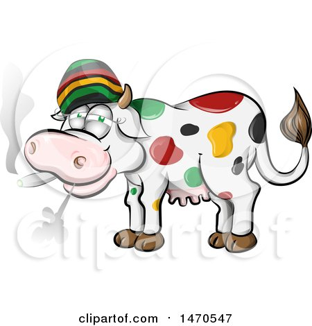 Clipart of a Jamaican Rasta Cow Smoking a Joint - Royalty Free Vector Illustration by Domenico Condello
