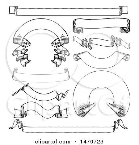 Clipart of Black and White Vintage Banner Design Elements - Royalty Free Vector Illustration by AtStockIllustration