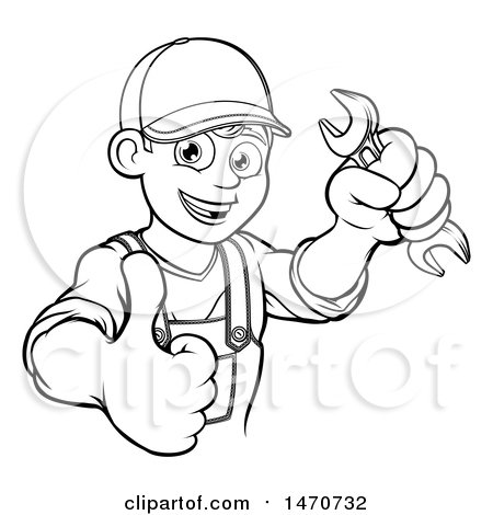 Lineart Happy Male Mechanic Holding a Spanner Wrench and Giving a Thumb up Posters, Art Prints