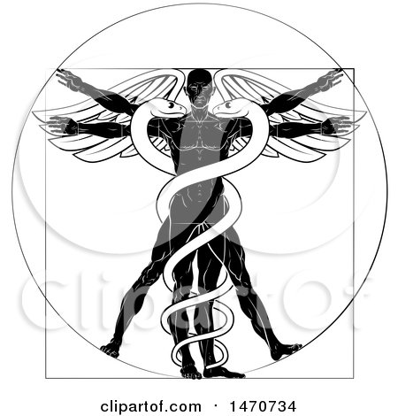 Clipart of a Black and White Leonard Da Vinci Vitruvian Man with Wings and a Doubl Helix Snake Caduceu - Royalty Free Vector Illustration by AtStockIllustration