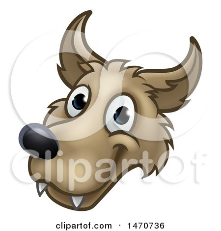 Clipart of a Wolf Face Mascot from the Three Little Pigs Story - Royalty Free Vector Illustration by AtStockIllustration