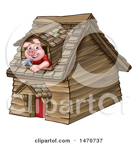 Clipart of a Piggy from the Three Little Pigs Fairy Tale, Looking out the Window in His Wood House - Royalty Free Vector Illustration by AtStockIllustration