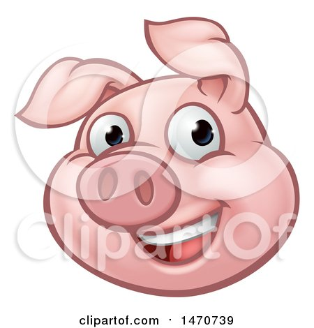 Clipart of a Happy Pig Mascot - Royalty Free Vector Illustration by AtStockIllustration