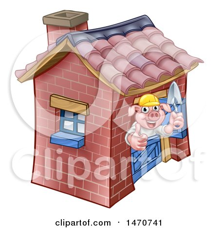 Clipart of a Piggy from the Three Little Pigs Fairy Tale, Giving a Thumb up in His Brick House - Royalty Free Vector Illustration by AtStockIllustration