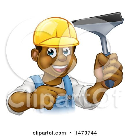 Clipart of a Happy Black Male Window Cleaner Pointing and Holding a Squeegee - Royalty Free Vector Illustration by AtStockIllustration