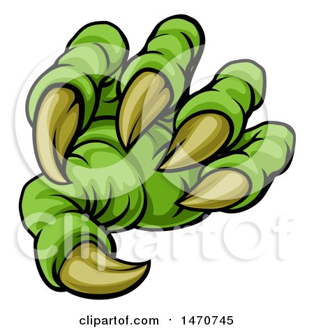 Clipart of a Green Monster Claw with Sharp Talons - Royalty Free Vector Illustration by AtStockIllustration
