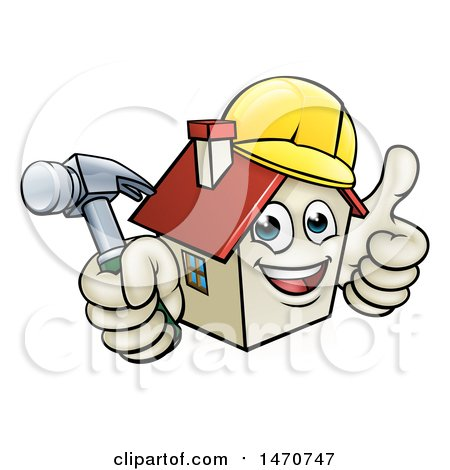 Clipart of a Cartoon Happy White Home Mascot Character Wearing a Hardhat, Holding a Hammer and Giving a Thumb up - Royalty Free Vector Illustration by AtStockIllustration