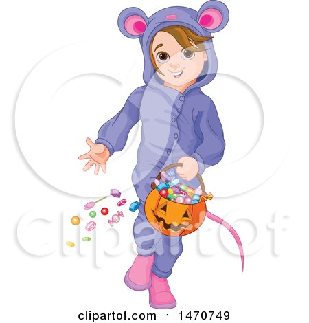 Clipart of a Girl in a Mouse Halloween Costume - Royalty Free Vector Illustration by Pushkin