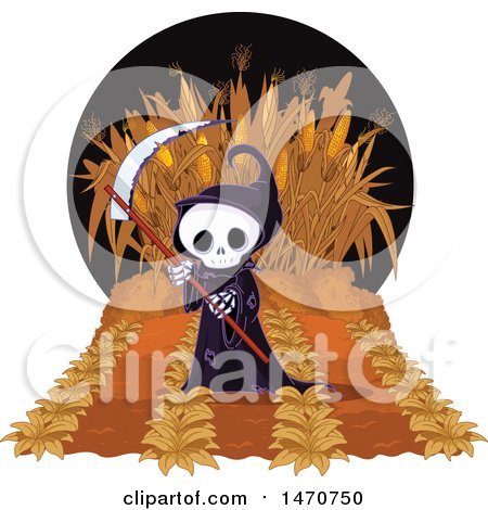 Clipart of a Grim Reaper in a Maze - Royalty Free Vector Illustration by Pushkin