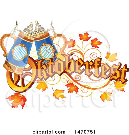 Clipart of an Oktoberfest Text Design with Leaves and Beer Steins - Royalty Free Vector Illustration by Pushkin