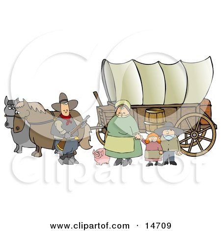 Historical Family Of Pioneers Standing With Their Pig In Front Of Two Horses Pulling A Covered Wagon Along The Oregon Trail Clipart Illustration Graphic by djart