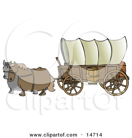 Two Horses Pulling A Big Covered Wagon On The Oregon Trail Clipart Illustration by djart