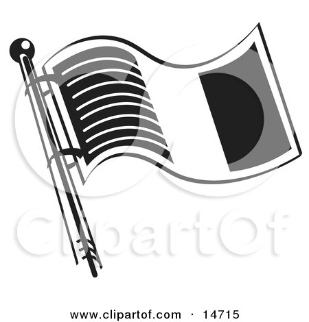 Flag of Ireland in Black and White Clipart Illustration by Andy Nortnik