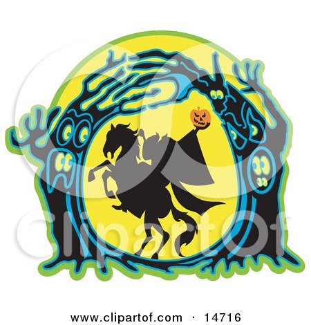 the Headless Horseman Holding His Pumpkin Head up High As His Horse Rears up in a Haunted Forest of Evil Trees Clipart Illustration by Andy Nortnik