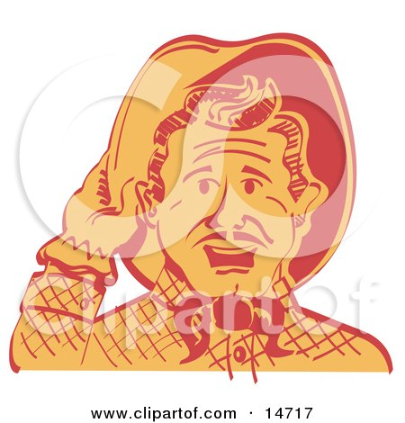 Friendly Cowboy Man Tipping His Hat While Saying Howdy Clipart Illustration