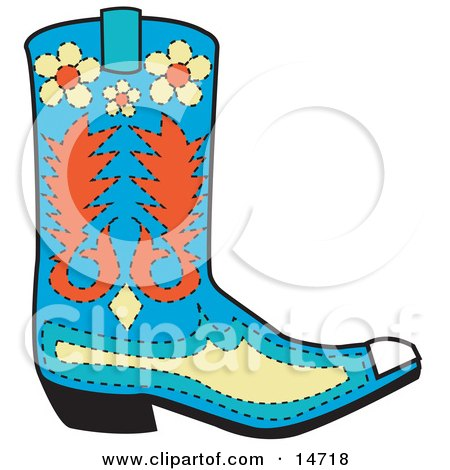 Blue Cowboy Boot With Orange And Yellow Floral Shapes Clipart Illustration by Andy Nortnik