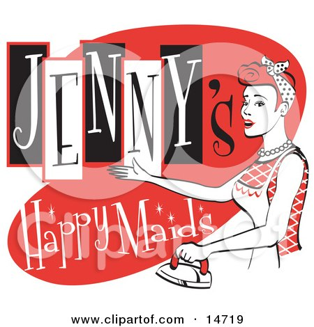 Happy Redhaired Woman In An Apron, Ironing Clothes On A Vintage Jenny's Happy Maids Advertisement Clipart Illustration by Andy Nortnik