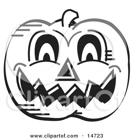 Evil Carved Halloween Pumpkin Black And White Clipart Illustration