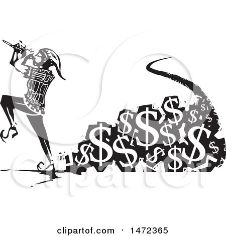 Clipart of a the Pied Piper Marching and Playing a Pipe with a Trail of Usd Currency Symbols in Black and White Woodcut - Royalty Free Vector Illustration by xunantunich