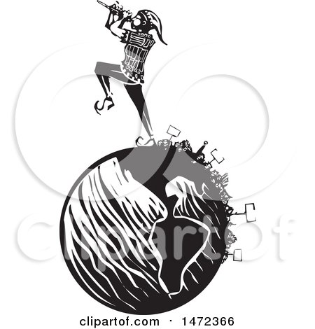 Clipart of a the Pied Piper Marching and Playing a Pipe on a Globe, with Protesters in Black and White Woodcut - Royalty Free Vector Illustration by xunantunich