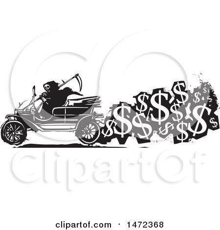 Clipart of a Grim Reaper Driving an Antique Car with a Trail of USD Symbols, Cost of Death, in Black and White Woodcut Style - Royalty Free Vector Illustration by xunantunich