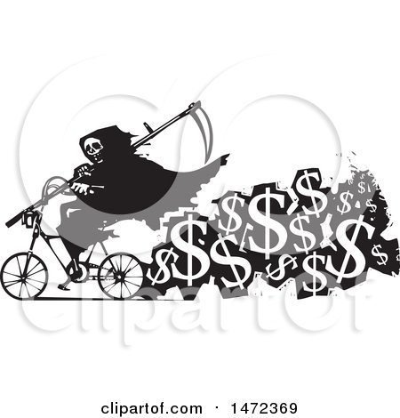Clipart of a Grim Reaper Riding a Bicycle with a Trail of USD Symbols, Cost of Death, in Black and White Woodcut Style - Royalty Free Vector Illustration by xunantunich