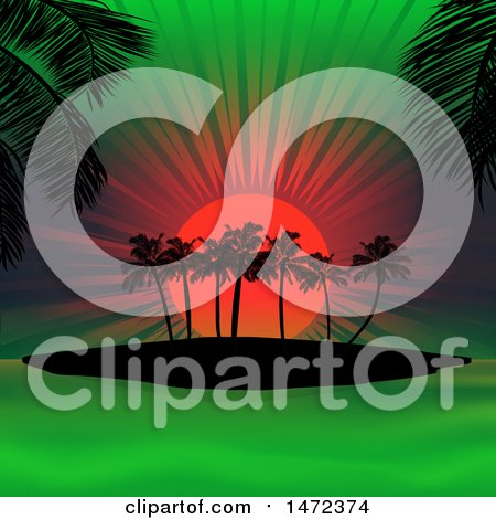 Clipart of a Neon Sunset of Orange and Green and Silhouetted Palm Trees - Royalty Free Vector Illustration by elaineitalia