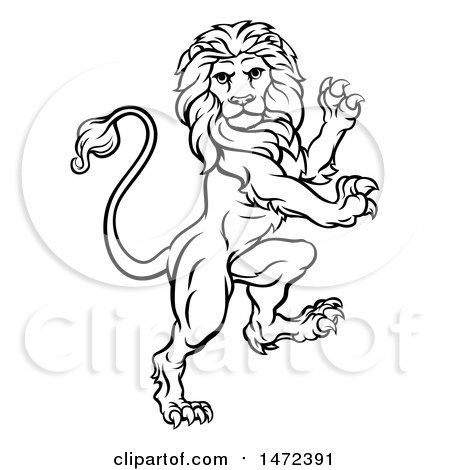 Clipart of a Black and White Lineart Rampant Lion - Royalty Free Vector Illustration by AtStockIllustration