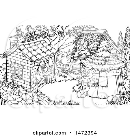 Clipart of a Scne of the Wolf and the Three Pigs in Their Brick, Wood and Straw Houses, Black and White - Royalty Free Vector Illustration by AtStockIllustration