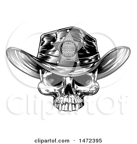 Clipart of a Cowboy Skull Wearing a Sheriff Hat, Black and White Vintage Engraved - Royalty Free Vector Illustration by AtStockIllustration