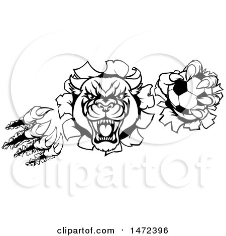 Clipart of a Black and White Vicious Roaring Panther Monster Mascot Shredding Through a Wall with a Soccer Ball - Royalty Free Vector Illustration by AtStockIllustration