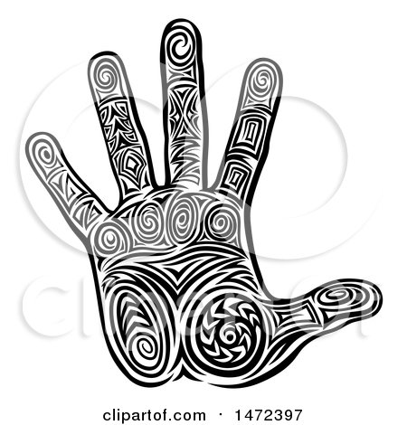 Clipart of a Tribal Hand in Black and White - Royalty Free Vector Illustration by AtStockIllustration