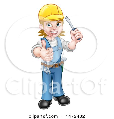 Clipart of a Full Length White Female Electrician Holding a Screwdriver and Giving a Thumb up - Royalty Free Vector Illustration by AtStockIllustration