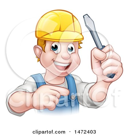 Clipart of a White Male Electrician Holding up a Screwdriver and Pointing - Royalty Free Vector Illustration by AtStockIllustration