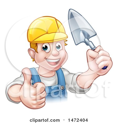 Clipart of a White Male Mason Worker Holding a Trowel and Giving a Thumb up - Royalty Free Vector Illustration by AtStockIllustration