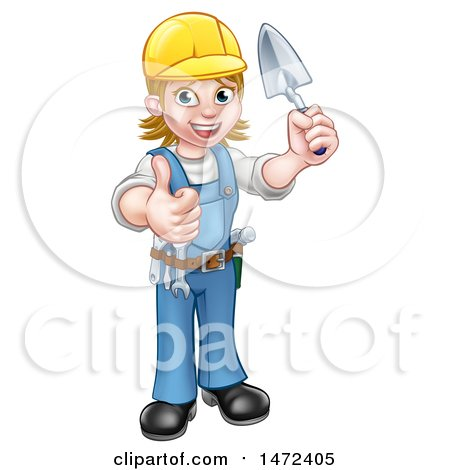 Clipart of a Full Length White Female Mason Worker Holding a Trowel and Giving a Thumb up - Royalty Free Vector Illustration by AtStockIllustration