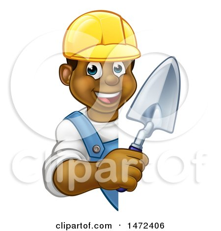 Clipart of a Black Male Mason Worker Holding a Trowel Around a Sign - Royalty Free Vector Illustration by AtStockIllustration