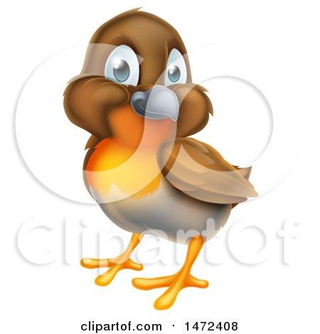 Clipart of a Cute Happy Robin Bird - Royalty Free Vector Illustration by AtStockIllustration