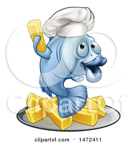 Clipart of a Happy Blue Cod Fish Chef Holding up a Fry over Chips - Royalty Free Vector Illustration by AtStockIllustration