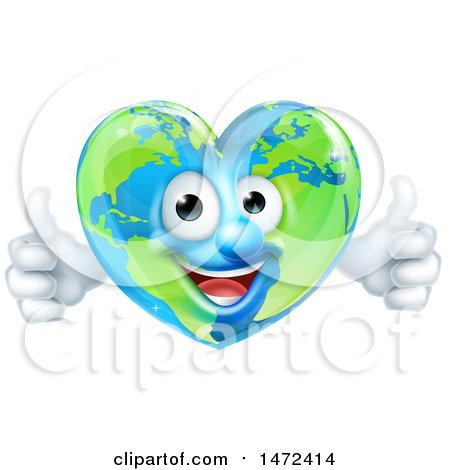 Clipart of a Happy Earth Globe in the Shape of a Heart Character Giving Two Thumbs up - Royalty Free Vector Illustration by AtStockIllustration