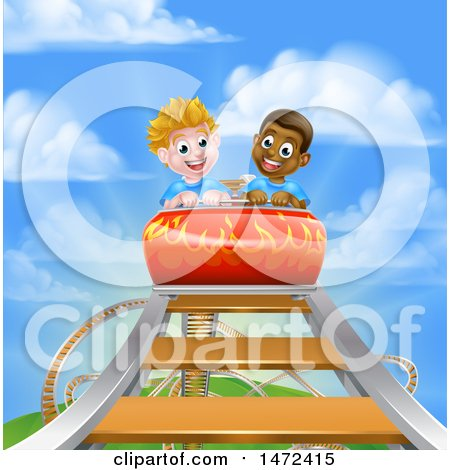 Clipart of Boys at the Top of a Roller Coaster Ride, Against a Blue Sky with Clouds - Royalty Free Vector Illustration by AtStockIllustration