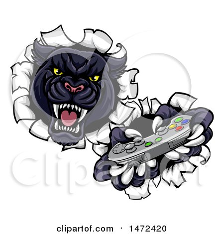 Clipart of a Vicious Black Panther Breaking Through a Wall with a Video Game Controller - Royalty Free Vector Illustration by AtStockIllustration
